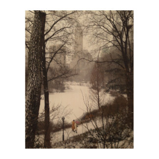 A Walk Around The Pond On A Winter Day Wood Wall Art