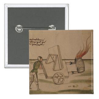A War Machine, illustration from 'De Machinis' 15 Cm Square Badge