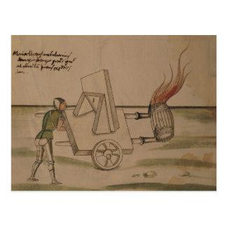 A War Machine, illustration from 'De Machinis' Postcard