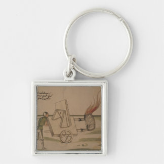 A War Machine, illustration from 'De Machinis' Silver-Colored Square Key Ring