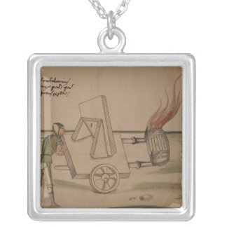 A War Machine, illustration from 'De Machinis' Silver Plated Necklace