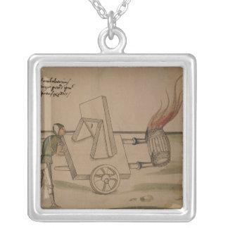 A War Machine, illustration from 'De Machinis' Square Pendant Necklace