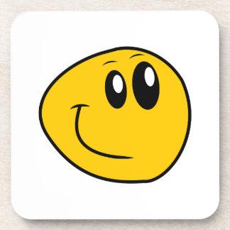 A Warped Yellow Happy Smiley Coaster