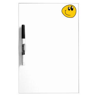 A Warped Yellow Happy Smiley Dry Erase Board