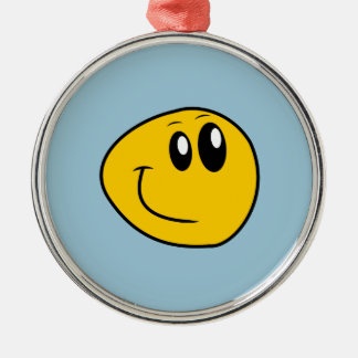 A Warped Yellow Happy Smiley Metal Ornament