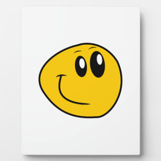 A Warped Yellow Happy Smiley Plaque