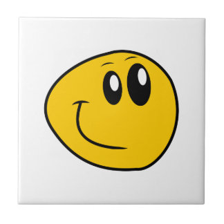 A Warped Yellow Happy Smiley Tile