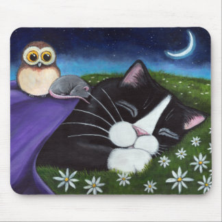 A Watchful Eye | Fantasy Tuxedo Cat Art Mouse Pad