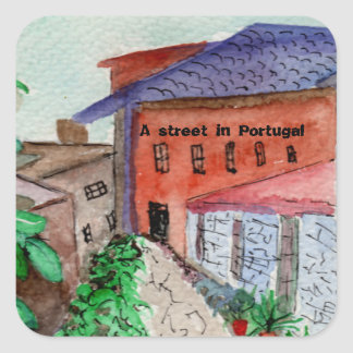 A watercolored sticker of a street in Portugal