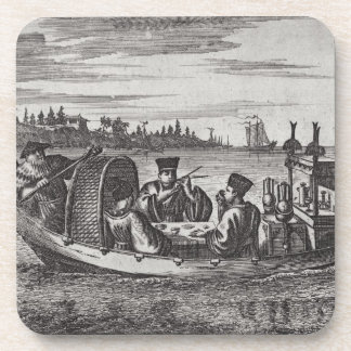 A Wealthy Mandarin Dining in a Boat, illustration Beverage Coasters