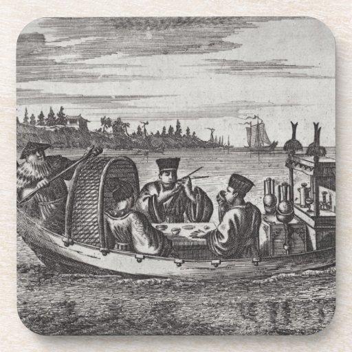 A Wealthy Mandarin Dining in a Boat, illustration Beverage Coaster