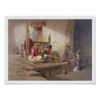 A weaver in Esna, one of 24 illustrations produced Poster