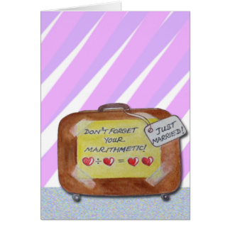 A wedding card with a light-hearted look.