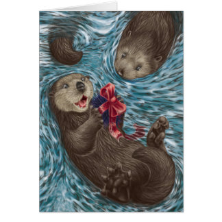 A West Coast Christmas: Otters Card