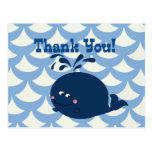 A Whale Of A Tail Nautical Blue Thank You - Postcards