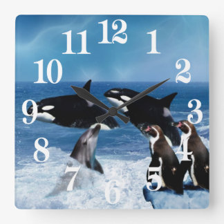 A whale of a world square wall clock