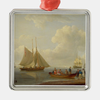 A Wherry Taking Passengers out to Two Anchored Pac Christmas Tree Ornament