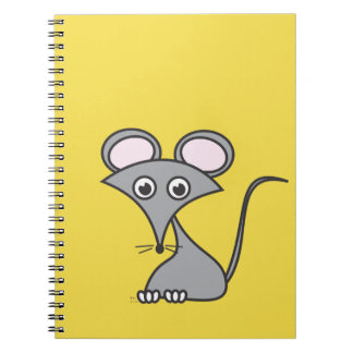 A whimsical mouse on a cheesy notebook