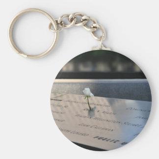 A white rose on Ground Zero Memorial Key Ring