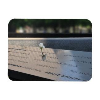 A white rose on Ground Zero Memorial Magnet