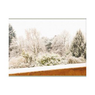 a white winter landscape on print canvas