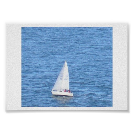 A White Yacht and Blue Sea Poster