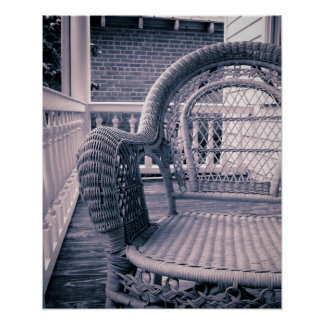 A Wicker Chair on a Southern Porch Poster