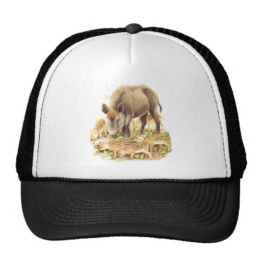 A Wild Boar and Babies Mesh Hats