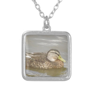 A Wild Duck Swimming Silver Plated Necklace