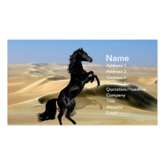 A wild rearing black stallion business card template