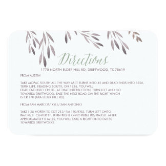A Wildflower Wedding Directions Enclosure Card