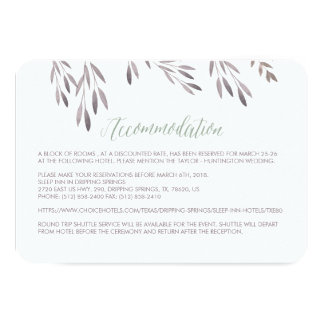 A Wildflower Wedding Hotel Enclosure Card
