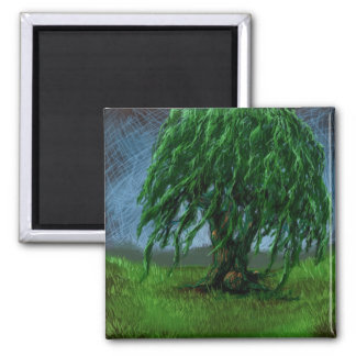A Willow in a Valley Square Magnet