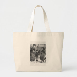 A Winter Day Victorian Scene Vintage Jumbo Tote Bag