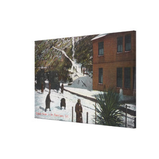 A Winter Scene, Adults Playing in Snow Canvas Print