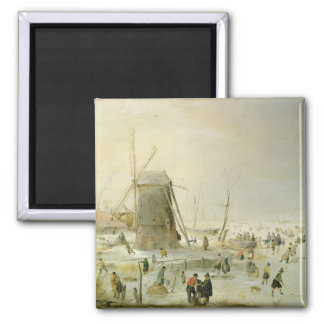 A winter scene with skaters by a windmill square magnet