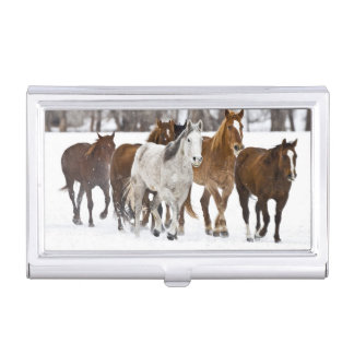 A winter scenic of running horses on The 2 Business Card Holder