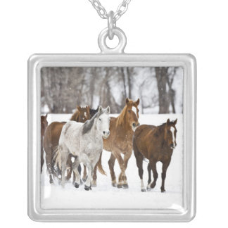 A winter scenic of running horses on The 2 Square Pendant Necklace