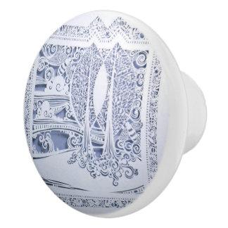 A Winter's Snow Ceramic Knob