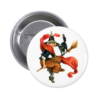A Witch Flies on Her Broom with her Black Cat 6 Cm Round Badge