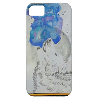A wolf and a moon iPhone 5 cover