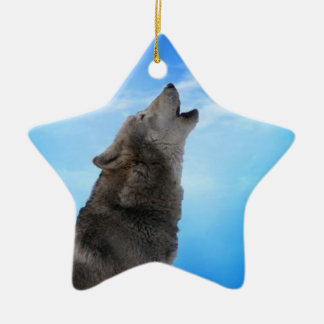 A Wolf on a star Ceramic Ornament
