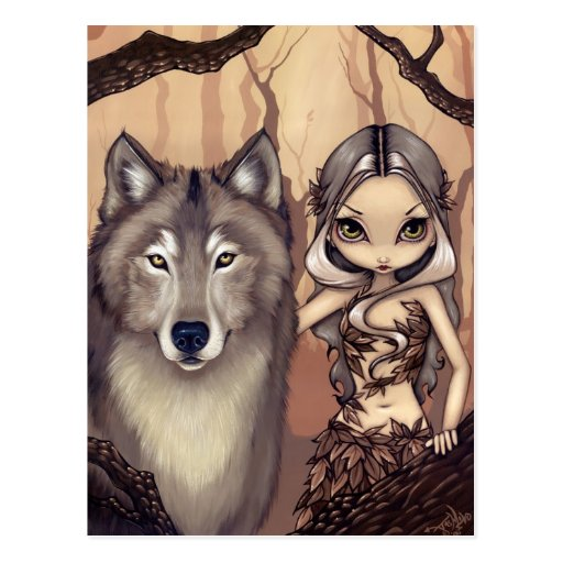 """A Wolfish Friend"" Postcard"