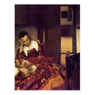 A woman asleep by Johannes Vermeer Postcard