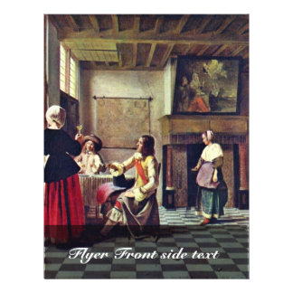 A Woman Drinking With Two Men By Hooch Pieter De ( 21.5 Cm X 28 Cm Flyer