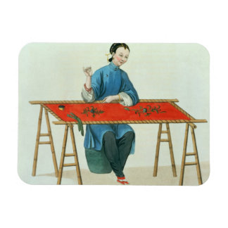 A Woman Embroidering, plate 41 from 'The Costume o Magnet