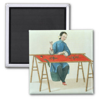 A Woman Embroidering, plate 41 from 'The Costume o Square Magnet