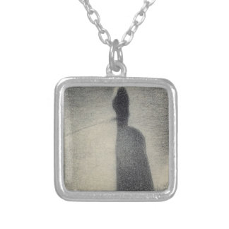 A Woman Fishing (conte crayon) Silver Plated Necklace