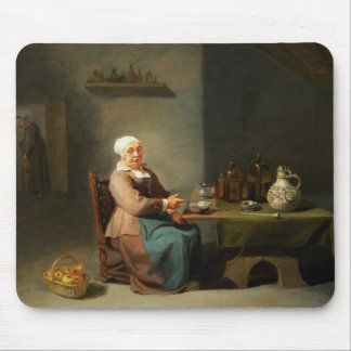 A Woman in a kitchen Mouse Pad