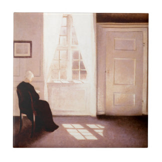 A Woman Reading By A Window Ceramic Tile